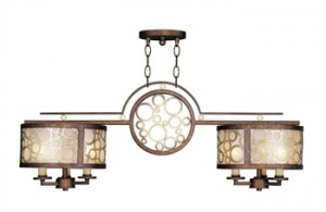 Livex Lighting 8672-64 Island Lighting 11in Palacial Bronze with Gilded Accents 6-Light
