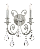 Picture for category Crystorama 5112-OS-CL-MWP Regis Wall Sconces 13in Olde Silver Wrought Iron