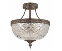 Picture for category Crystorama 118-10-EB Bohemian crystal basket Semi Flush 10in English Bronze