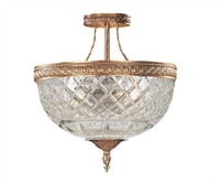 Picture for category Crystorama 118-10-OB Bohemian crystal basket Semi Flush 10in Olde Brass 3-light
