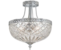 Picture for category Crystorama 118-12-CH Bohemian crystal basket Semi Flush 12in Polished Chrome