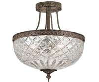 Picture for category Crystorama 118-12-EB Bohemian crystal basket Semi Flush 12in English Bronze