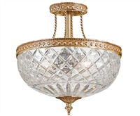 Picture for category Crystorama 118-12-OB Bohemian crystal basket Semi Flush 12in Olde Brass 3-light