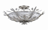 Picture for category Crystorama 4704-SL Vienna Semi Flush 20in Silver Leaf Wrought Iron 6-light