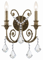 Picture for category Crystorama 5112-EB-CL-S Regis Wall Sconces 13in English Bronze Wrought Iron