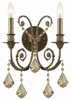 Picture for category Crystorama 5112-EB-GT-MWP Regis Wall Sconces 13in English Bronze Wrought Iron