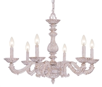 Picture for category Crystorama 5126-AW Abbie Chandeliers 28in Antique White Wrought Iron 6-light