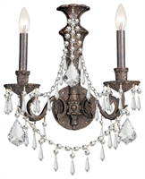 Picture for category Crystorama 5162-EB-CL-MWP Regis Wall Sconces 15in English Bronze Wrought Iron