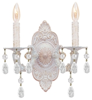 Picture for category Crystorama 5200-AW-CLEAR Abbie Wall Sconces 11in Antique White Wrought Iron
