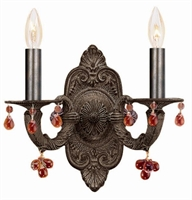 Picture for category Crystorama 5200-VB-AMBER Abbie Wall Sconces 11in Venetian Bronze Wrought Iron