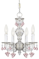 Picture for category Crystorama 5224-AW-ROSA Abbie Mini Chandeliers 14in Antique White Wrought Iron