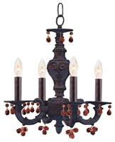 Picture for category Crystorama 5224-VB-AMBER Abbie Mini Chandeliers 14in Venetian Bronze 4-light