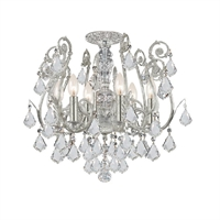 Picture for category Crystorama 5115-OS-CL-SAQ Regis Semi Flush 20in Olde Silver Wrought Iron