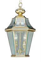 Picture for category Livex 2265-02 Georgetown Outdoor Pendant 10in Polished Brass 2-light