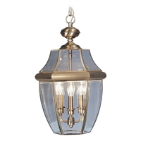 Picture for category Livex 2355-01 Monterey Outdoor Pendant 13in Antique Brass 3-light