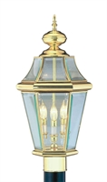 Picture for category Livex 2364-02 Georgetown Outdoor Post Light 13in Polished Brass 3-light