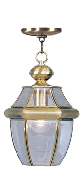 Picture of Livex Lighting 2152-01 Outdoor Pendant 9in Antique Brass 1-light
