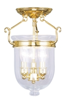 Picture for category Livex 5061-02 Jefferson Flush Mounts 10in Polished Brass 3-light