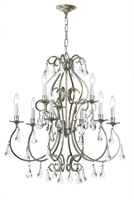 Picture for category Crystorama 5019-OS-CL-MWP Ashton Chandeliers 26in Olde Silver Steel 9-light