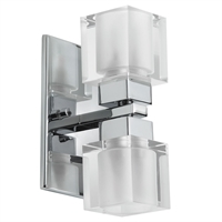 Picture for category Dainolite 83889A-PC Glass cube Wall Sconces 4in Polished Chrome Steel 2-light