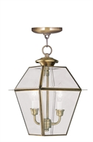 Picture for category Livex 2285-01 Westover Outdoor Pendant 9in Antique Brass 2-light