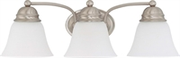 Picture for category Nuvo 60/3266 Empire Wall Lantern 21in Brushed Nickel Frosted White 3-light