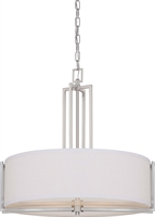 Picture for category Nuvo 60/4756 Gemini Pendants 24in Brushed Nickel Slate Gray Fabric Shade