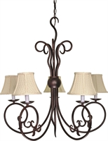 Picture for category Nuvo 60/040 Tapas Chandeliers 29in Old Bronze Linen Waffle shades 5-light