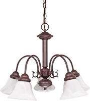 Picture for category Nuvo 60/183 Ballerina Chandeliers 24in Old Bronze Alabaster Bell 5-light