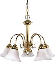 Picture for category Nuvo 60/185 Ballerina Chandeliers 24in Polished Brass Alabaster Bell 5-light