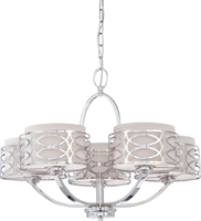 Picture for category Nuvo 60/4625 Harlow Chandeliers 28in Polished Nickel Slate Gray Fabric Shades