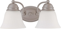 Picture for category Nuvo 60/3265 Empire Wall Lantern 15in Brushed Nickel Frosted White 2-light
