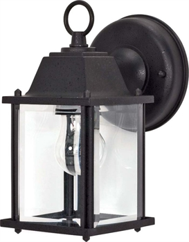 Picture of Nuvo 60/638 Utility Outdoor Wall Sconces 4in Textured Black Clear Beveled