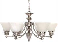 Picture for category Nuvo 60/356 Empire Chandeliers 26in Brushed Nickel Alabaster Bell 6-light
