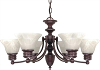 Picture for category Nuvo 60/358 Empire Chandeliers 26in Old Bronze Alabaster Bell 6-light