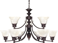 Picture for category Nuvo 60/362 Empire Chandeliers 32in Old Bronze Alabaster Bell 9-light