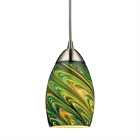Picture for category Pendants 1 Light LED With Satin Nickel Finish Evergreen Glass 4 inch 12.5 Watts - World of Lamp