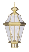 Picture for category Livex 2264-02 Georgetown Outdoor Post Light 10in Polished Brass 2-light