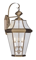 Picture for category Livex 2361-01 Georgetown Outdoor Wall Sconces 13in Antique Brass 3-light