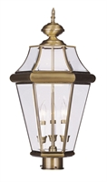Picture for category Livex 2364-01 Georgetown Outdoor Post Light 13in Antique Brass 3-light