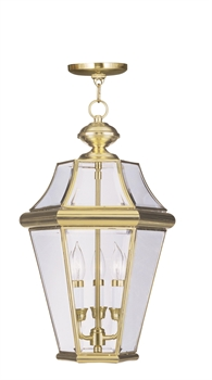 Picture of Livex Lighting 2365-02 Outdoor Pendant 13in Polished Brass 3-light
