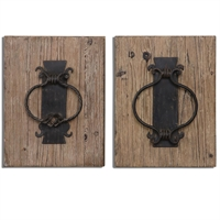 Picture for category Uttermost 07654 Rustic door knockers Wall Lantern 12in FIR METAL