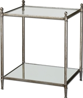 Picture for category Uttermost 24282 Gannon Furniture 23in Metal Tempered Glass & Mirror