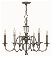 Picture for category Hinkley 4956PL Eleanor Chandeliers 28in Polished Antique Nickel Steel 6-light