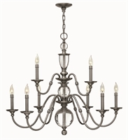 Picture for category Hinkley 4958PL Eleanor Chandeliers 35in Polished Antique Nickel Steel 9-light