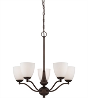 Picture for category Nuvo 60/5135 Patton Chandeliers 25in Prairie Bronze Iron Frosted 5-light