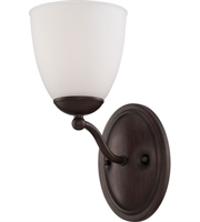 Picture for category Nuvo 60/5131 Patton Wall Lantern 6in Prairie Bronze Iron Frosted 1-light