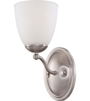 Picture for category Nuvo 60/5031 Patton Wall Lantern 6in Brushed Nickel Iron Frosted 1-light