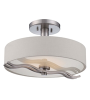 Picture for category Nuvo 62/118 Wave Ceiling Medallion Lighting 16in Brushed Nickel Metal 1-light