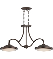 Picture for category Nuvo 62/173 Sawyer Pendants 12in Antique Brass Metal Frosted 2-light
